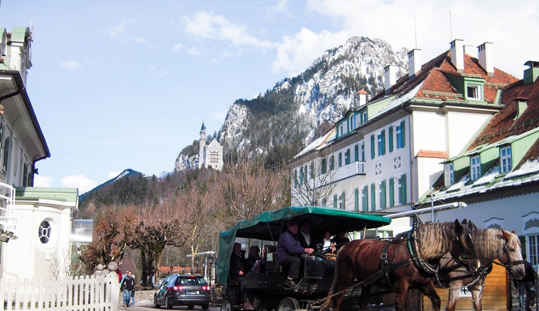 Schloss Neuschwanstein_Pferdekutsche zum Schloss
