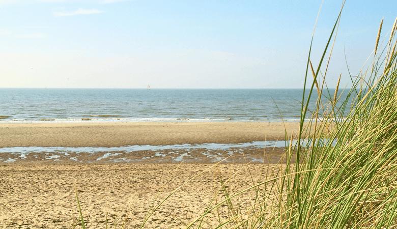 Der Strand vom belgischen Küstenort De Panne
