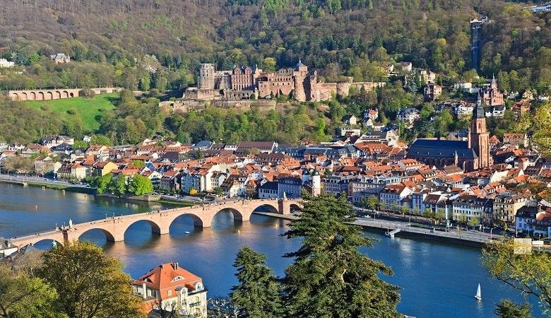 Blick auf Heidelberg und den Neckar