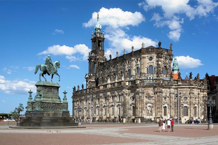 Hofkirche, Dresden, Altstadt, Vorplatz Semperoper