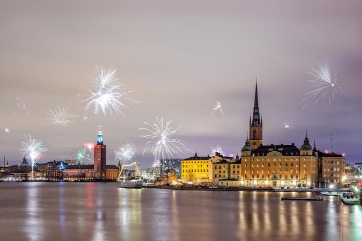 Silvester Feuerwerk in Stockholm