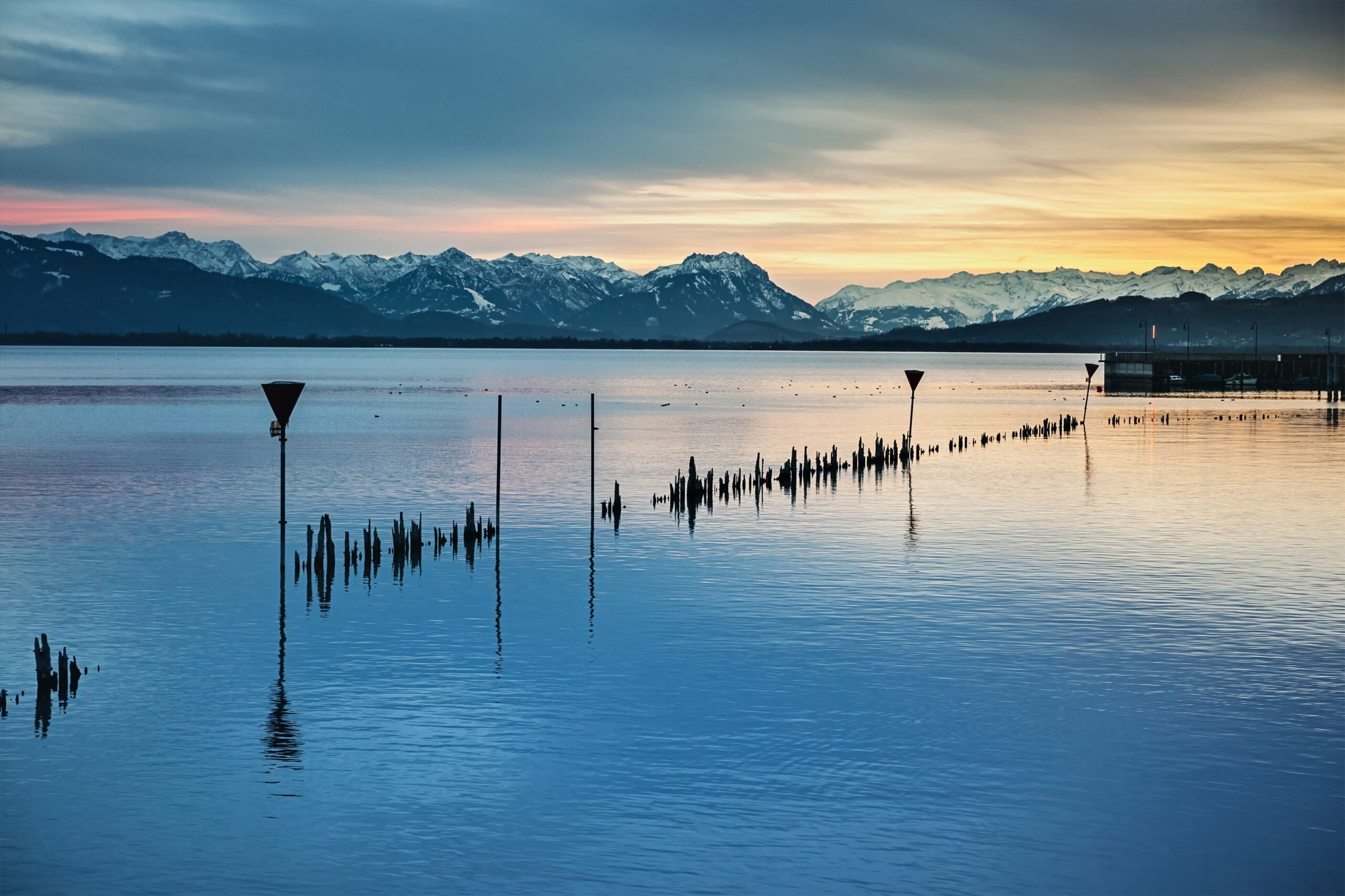 Lake Constance with the Alps in the background